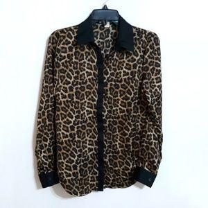 Michael Kors cheetah print button down top sz S
